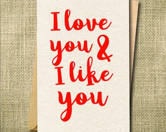 I love you and like you card, Funny Love Card,  Funny Anniversary Card, Valentine's day Card Custom Card, Sarcastic Card, Vday Card