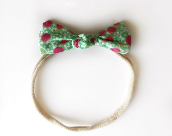 Top Knot Bow in Pink Dot