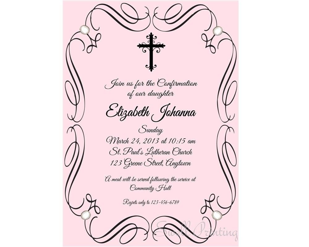 Greatest Pink Confirmation Invitation Confirmation Invitation KT61