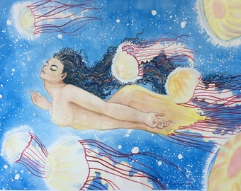 Jellyfish Mermaid Painting, Original Mermaid Art