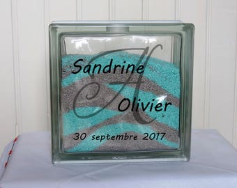 Glass block for Sand Ceremony – Wedding – Simple Initial