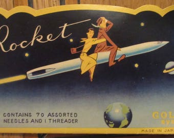 Rocket Sewing Needle Book, Gold Eye Needles, Made in Japan 1950's