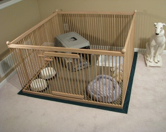 4'x4' RED OAK Large Indoor Dog Kennel with Durable, Ready-for-you-to-=finish, Waterproof, Snap-on, Dual-layer, Fabric Floor Mat.