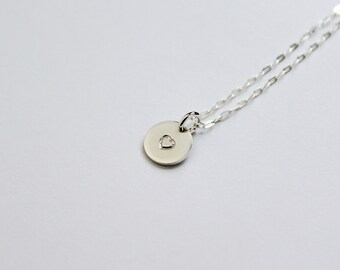 Dainty Heart Necklace - Sterling Silver - Handmade - Romantic Jewelry for Girlfriend - Disc Layer Necklace - Everyday Necklaces for Women