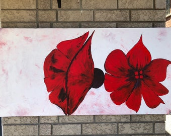 You and Me-Red Painting, Red and White painting, Red flower Painting, Red canvas Painting,Red Floral Art, Red and White Art Decor by Sami
