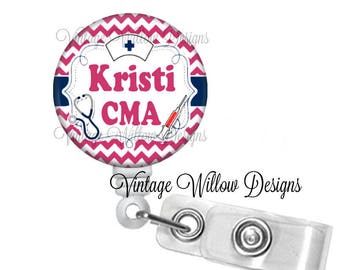 Personalized CMA (Certified Medical Assistant) Hot Pink Chevron Retractable ID Badge Reel
