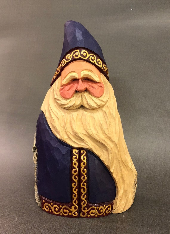 HAND CARVED original purple robe Santa from 100 year old Cottonwood Bark.