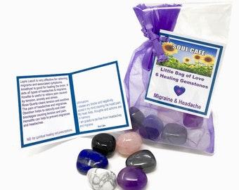 Migraine Crystals - Headache Crystals - Tumblestone Set - Healing Crystal Gemstones - Howlite, Lapis Lazuli, Rose Quartz, Hematite,