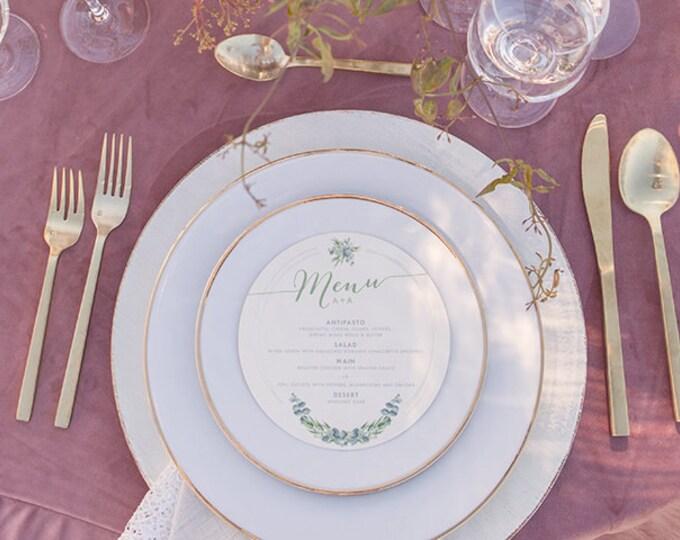 6x6 Greenery Garden Leaves and Grey Circular Circle Printed Wedding Menu