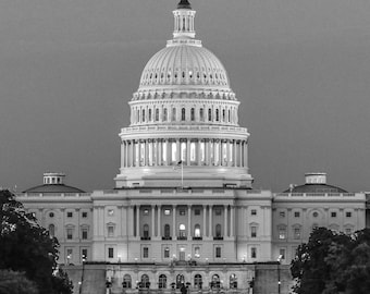 US Capitol Wall Art, Washington DC Canvas, Washington B&W Photography, Capitol Canvas, DC Wall Art, Capitol Rotunda, Capital Photo Print