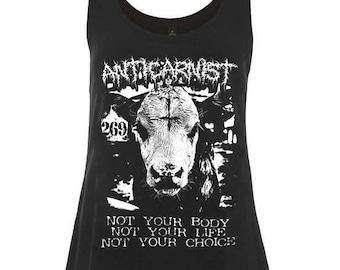 Woman's Vegan Tank Top Vest 'Not Yours' by Anticarnist Vegan Clothing