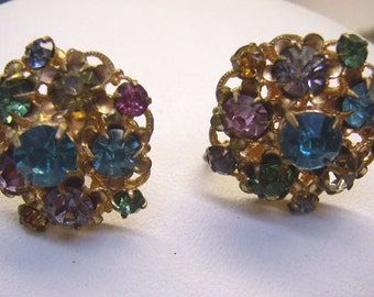 Vintage  Multi Colored Rhinestone Cluster Earrings...Czecho Screw Back Earrings...Circa 1920s /30s...CZECHOSLOV