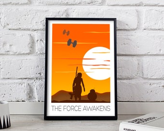 Star Wars Poster, Star Wars print, Star Wars art, The Force Awakens poster, The Force Awakens art, Star Wars wall decor, Gift poster