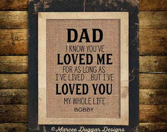 Christmas Gift for Dad | Daddy  | Personalized Gift For Dad | Loved You my Whole Life | Burlap Print | 230