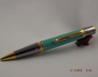 Handmade Turquoise Tru Stone Pen, Blue Turquoise Sierra style Pen