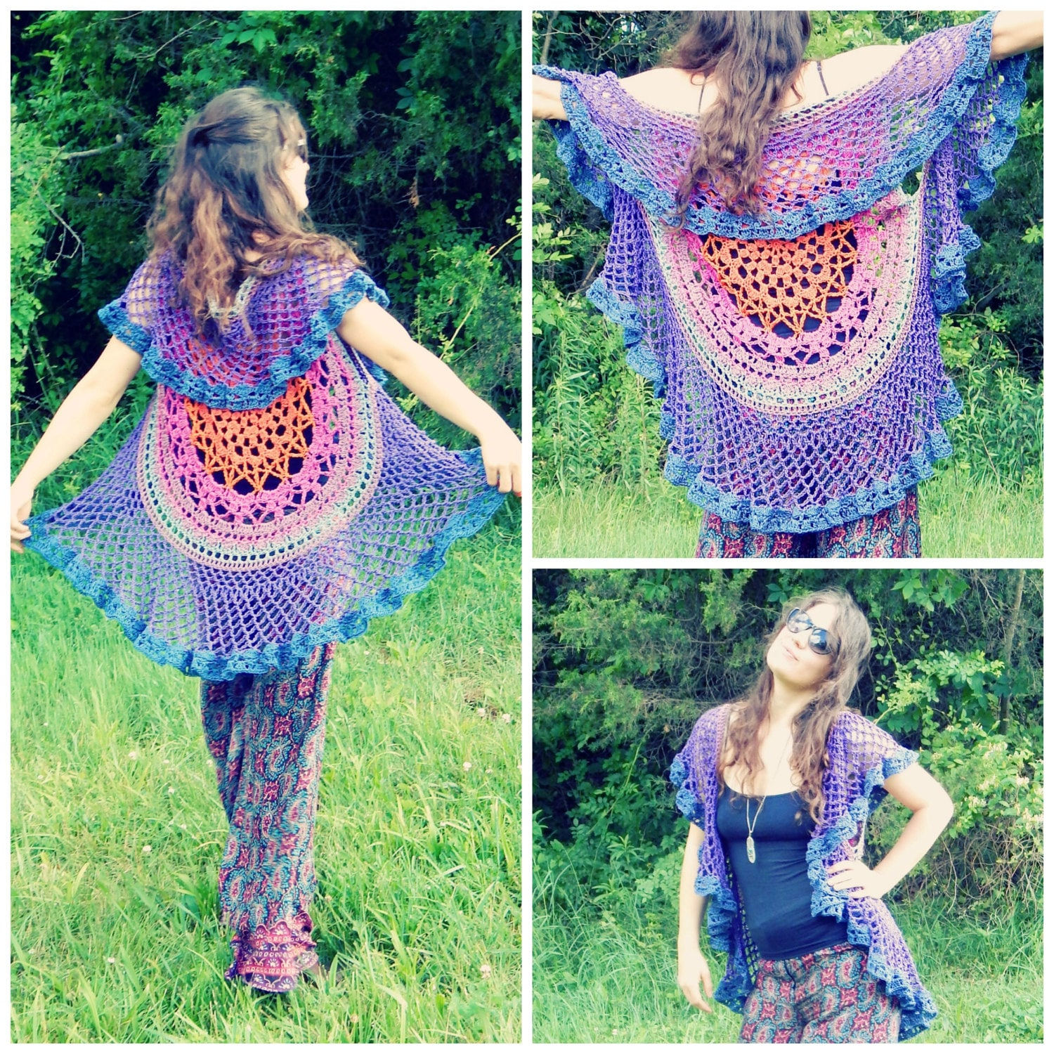 Crochet PATTERN: Lotus Mandala Circular Vest / Colorful Crochet ...