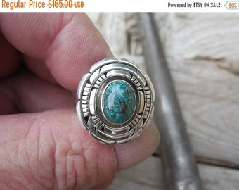ON SALE Turquoise ring handmade in sterling silver  by Melvin Francis, a Navajo silversmith