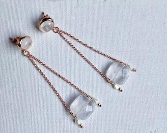 Rose gold dangle earrings, moonstone post earrings, square quartz and pearl earrings, bridal earrings, pink gold earrings, boho earrings
