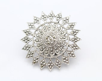 Art Deco Sterling Silver and Marcasite Geometric Sun Brooch. [6589]