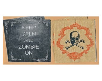 PN144 Paper Napkins by CR Gibson ~ 5x5 Halloween, Keep Calm and Zombie On, Mr Bones ~ Set of 4