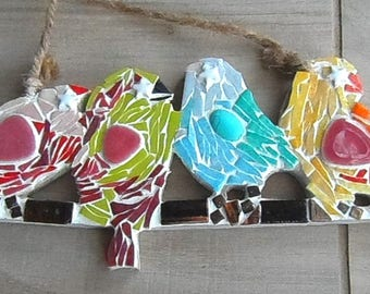 Hanging 4 multicolored bird, outdoor decoration, deco outdoor mosaic, mosaic bird decoration.