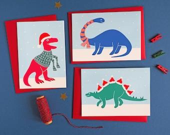 6 Dinosaur Christmas Cards, Dinosaur Christmas card, Xmas card, Funny card, Funny Christmas card, Funny Xmas card