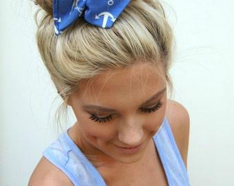 """Wire Bun Wrap Top Knot Wire Wrap """"Mini"""" Dolly Bow Nautical Anchor Wire Headband Rockabilly Ponytail Hair Tie Hair Bun Tie Wrap"""