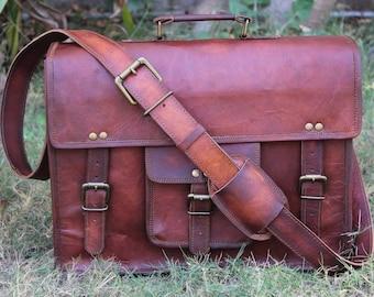 "Handmade leather messenger bags 15"" men women laptop computer bag shoulder satchel school distressed office briefcase unisex travelling bag"