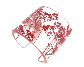 Contemporary Eco Resin Cuff.  Wide Cuff with Personalized Engraving. Handmade Resin Jewelry.  Red Baby's Breath Resin Cuff - Real Flowers