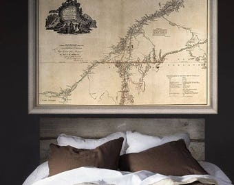 """Map of Quebec 1777, Old Quebec map in 4 sizes up to 54x36"""" (140x90cm) vintage map of Province of Quebec, Canada - Limited Edition of 100"""