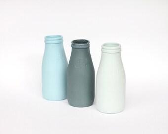 porcelain replica vintage milk bottle mini - (slate colour)