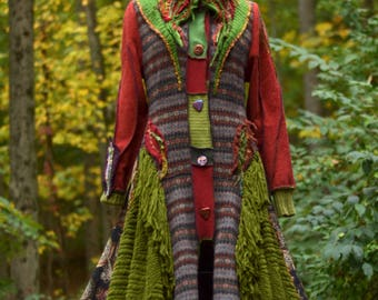 Patchwork long SWEATER COAT/ Boho Woodland style Mori girl refashioned OOAK up cycled sweaters Outerwear. Size Medium. Ready to ship