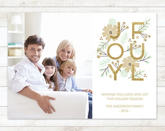 Christmas Photo Card, Gold Glitter Christmas Card,  Holiday Photo Card, Christmas Card, Christmas Photo