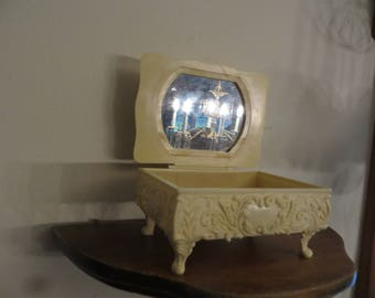 Vintage Celluloid Jewelry Box, Trinket Box, Vanity Decor w/ free ship