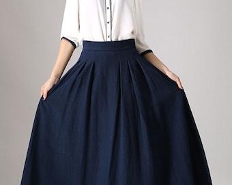 navy maxi skirt, circle skirt, full skirt, plus size skirt, long skirt for women, pleated skirt, navy skirt, elegant skirt, plus size 855