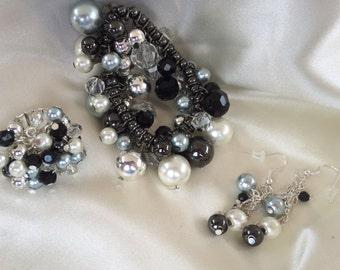 Black, Silver, Pearl Beaded Bangle Bracelet, Ring and Earrings Set