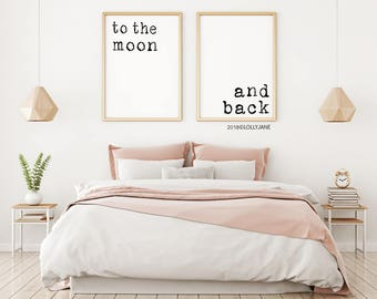 To The Moon and Back home decor printable art - INSTANT DOWNLOAD digital printable art