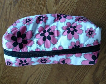 Mini Accessory and Toiletry bag handmade with pink black and white floral fabric