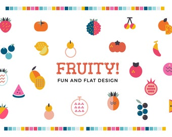 Fruity! Flat Fruits Clip Art, Digital Download Fruits and vegetable Illustration, Organic Food Graphic, Flat Vector Icon, Organic Icons