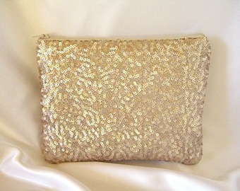 Champagne Sequin Clutch - Champagne Sequin Bag - Sequin Makeup Bag -  Champagne Bridesmaid Clutch - Holiday Clutch - Special Occasion Clutch