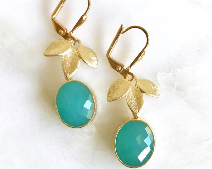 SALE - Turquoise Teardrop and Gold Leaf Drop Earrings. Turquoise Dangle Earrings. Bridesmaid Earrings. Jewelry Gift.  Christmas Gift.