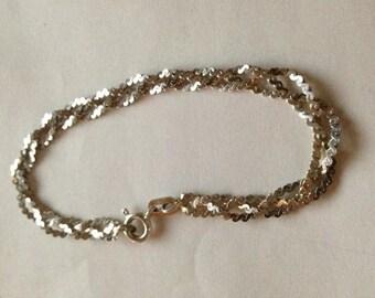 5.5g Vintage 925 Sterling silver multi strand twist silver bracelet approx 1970/1980
