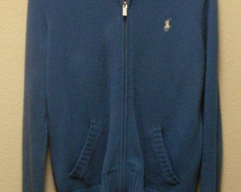 RALPH LAUREN SPORT Women's Blue With White Pony Long Sleeve Full Zipper Pocketed Tight Knit Sweater Size Large