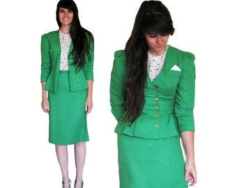 High Waist Skirt Suit, Kelly Green 2 Piece 1940's Aline Skirt, Peplum Nipped Jacket Puff Shoulders, Set, Cotton Wool Blend, size 3 / X-SMALL