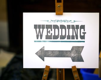 Wedding Directional Arrow Sign / Set of 3 / Letterpress Hand Printed Vintage Style / Custom Colors