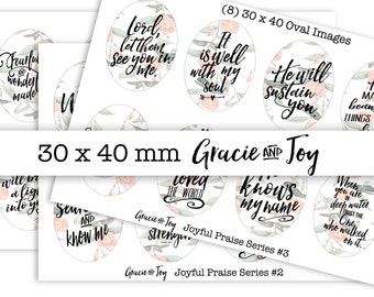 30 x 40 Oval, Christian Inspiration- Handletterd- Digital Collage Sheet- Printable images- Oval Cabochon images - Bible verses - Floral