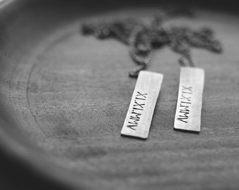 roman numeral necklace: personalized hand stamped roman numerals rectangle tag (made to order)
