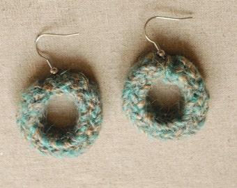Turquoise Handmade Jute Earrings