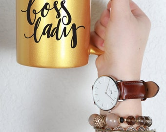 Boss Lady Gold Women In the Workplace Collection 11oz. Ceramic Illustrated Coffee Mug