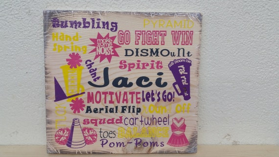 """12""""x12"""" Wooden Rustic-Style Cheer Sign"""